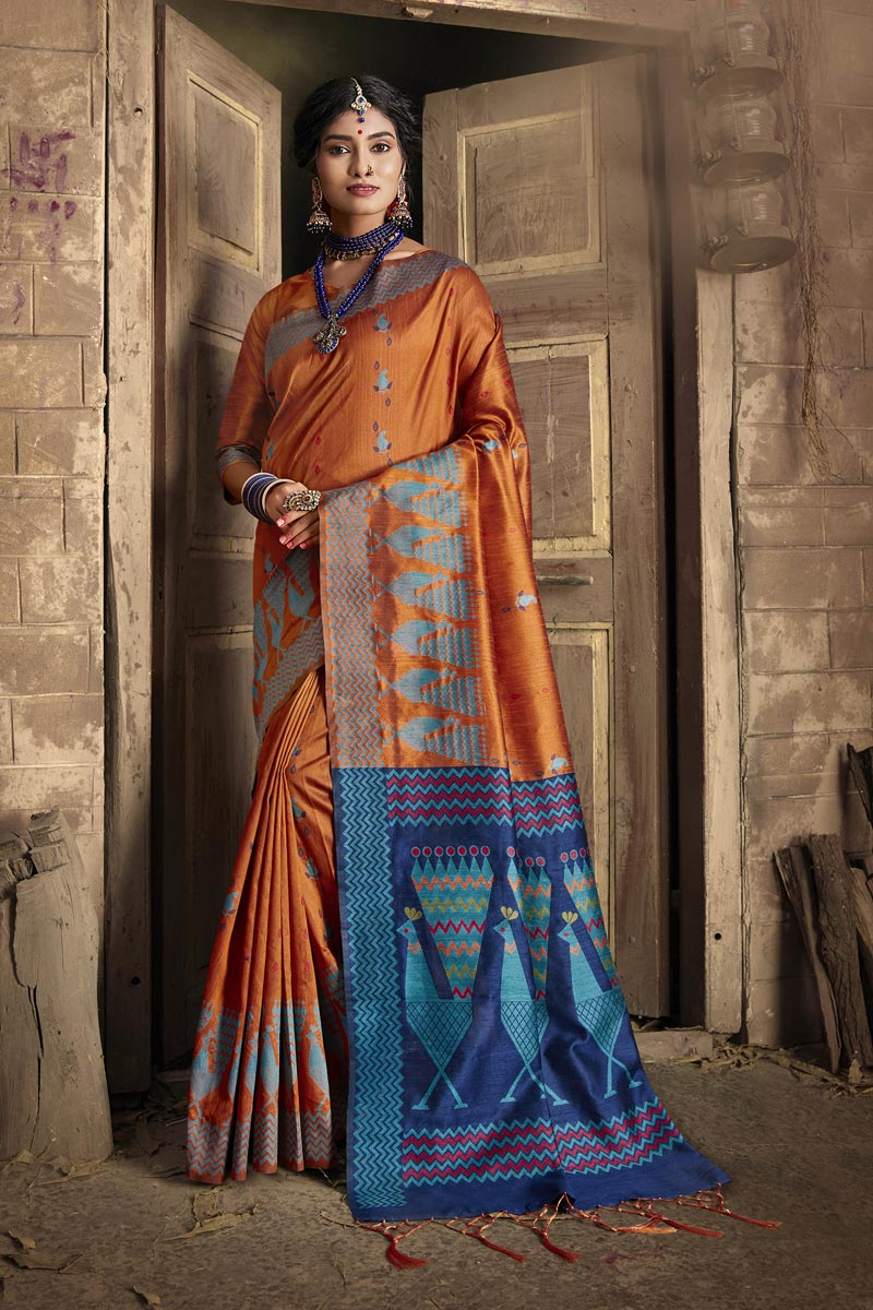 Party Style Orange Color Fancy Weaving Work Saree In Art Silk Fabric