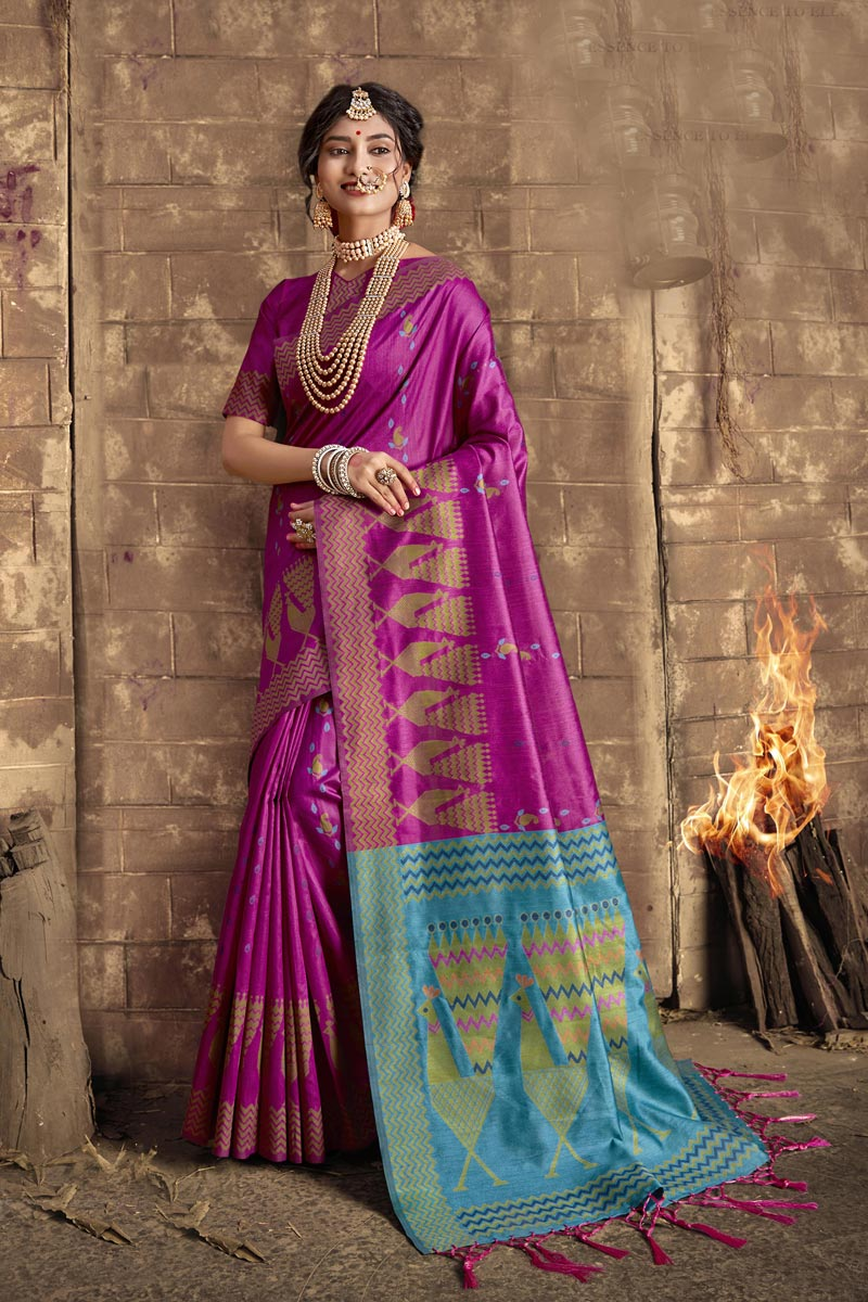 Party Style Fancy Magenta Color Weaving Work Art Silk Fabric Saree