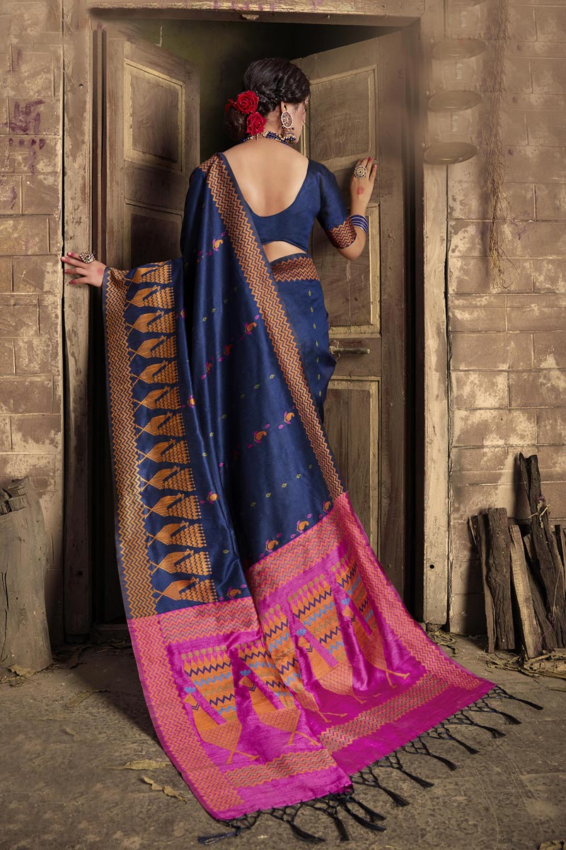 Navy Blue Color Fancy Party Style Art Silk Fabric Weaving Work Saree