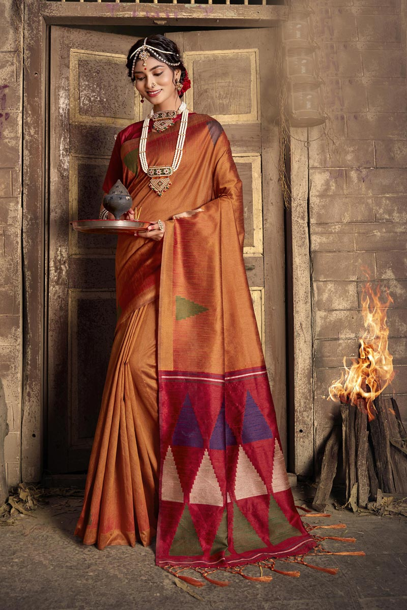 Art Silk Fabric Party Style Rust Color Fancy Weaving Work Saree