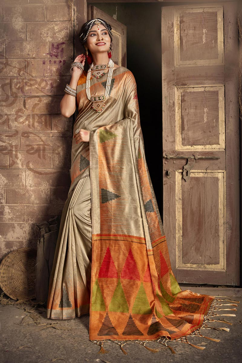 Party Style Fancy Art Silk Fabric Weaving Work Beige Color Saree