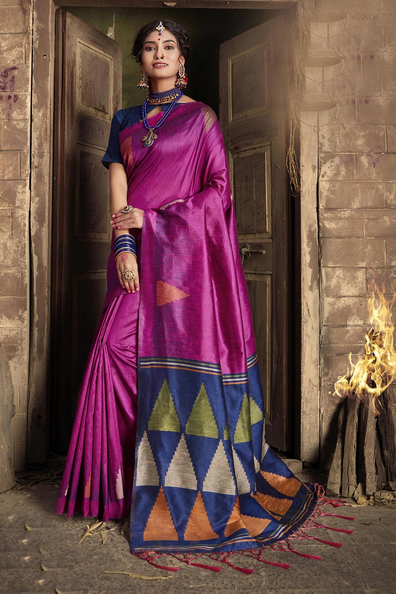Party Style Fancy Art Silk Fabric Weaving Work Rani Color Saree
