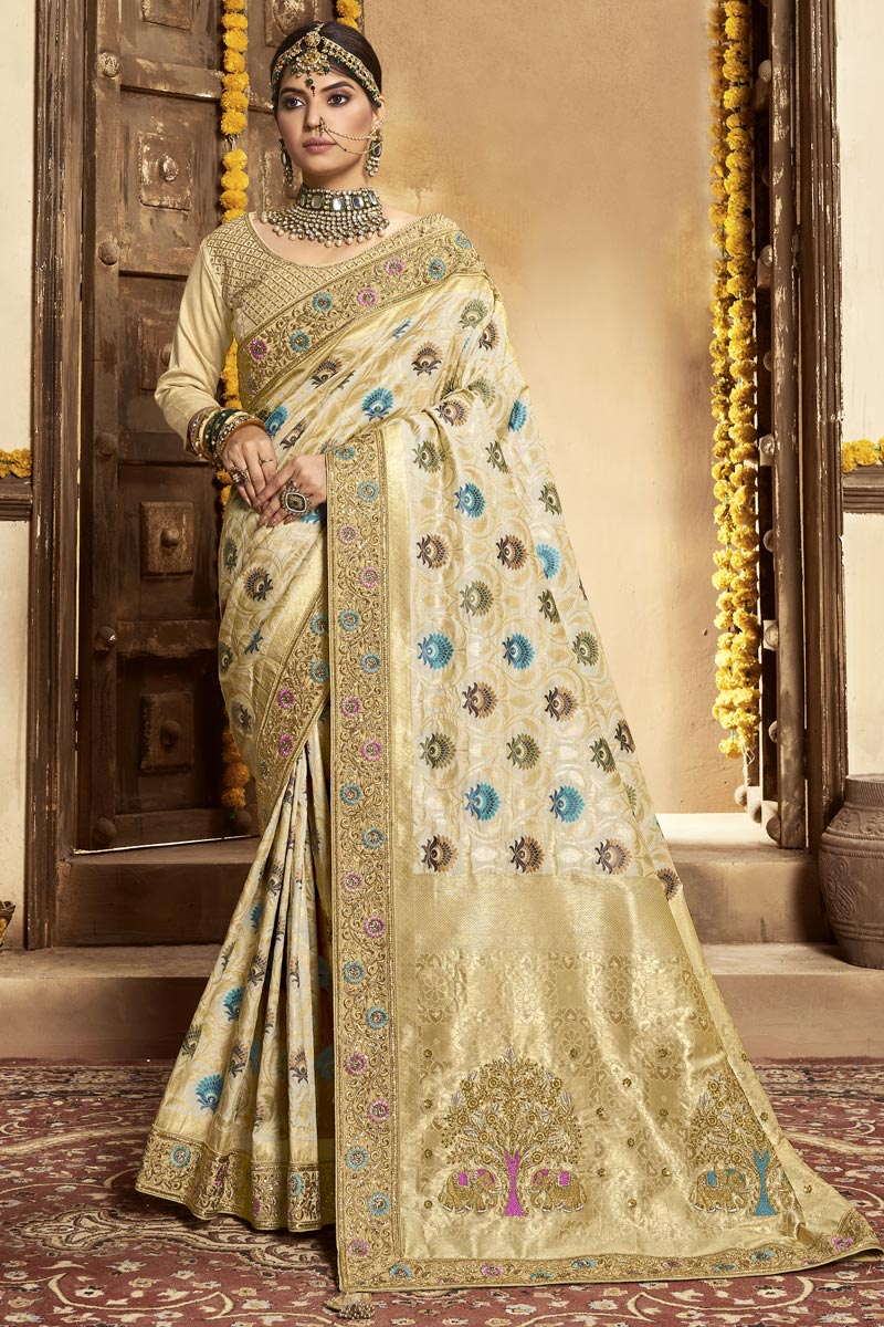Function Wear Banarasi Style Silk Fabric Weaving Work Saree In Beige Color