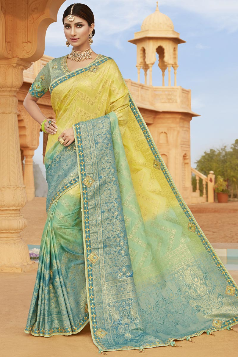 Silk Fabric Party Wear Saree In Yellow Color