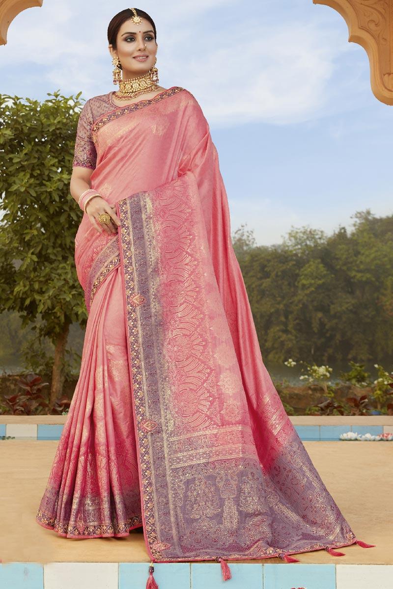 Pink Color Stylish Weaving Work Function Wear Art Silk Fabric Saree