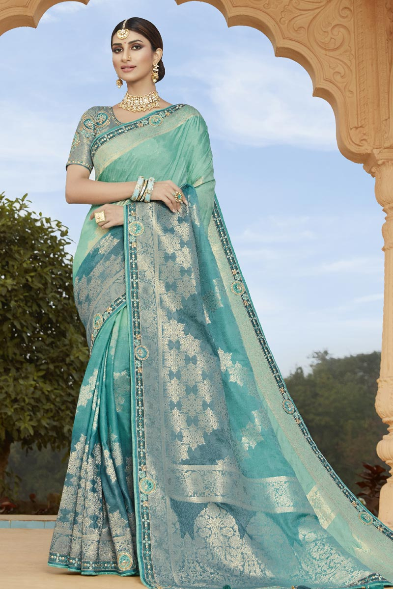 Light Turquoise Color Traditional Saree In Silk Fabric
