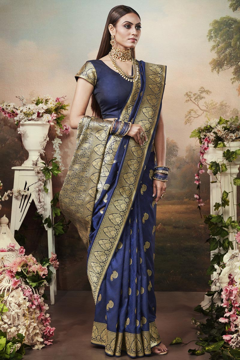 Navy Blue Color Puja Wear Art Silk Fabric Classic Weaving Work Saree