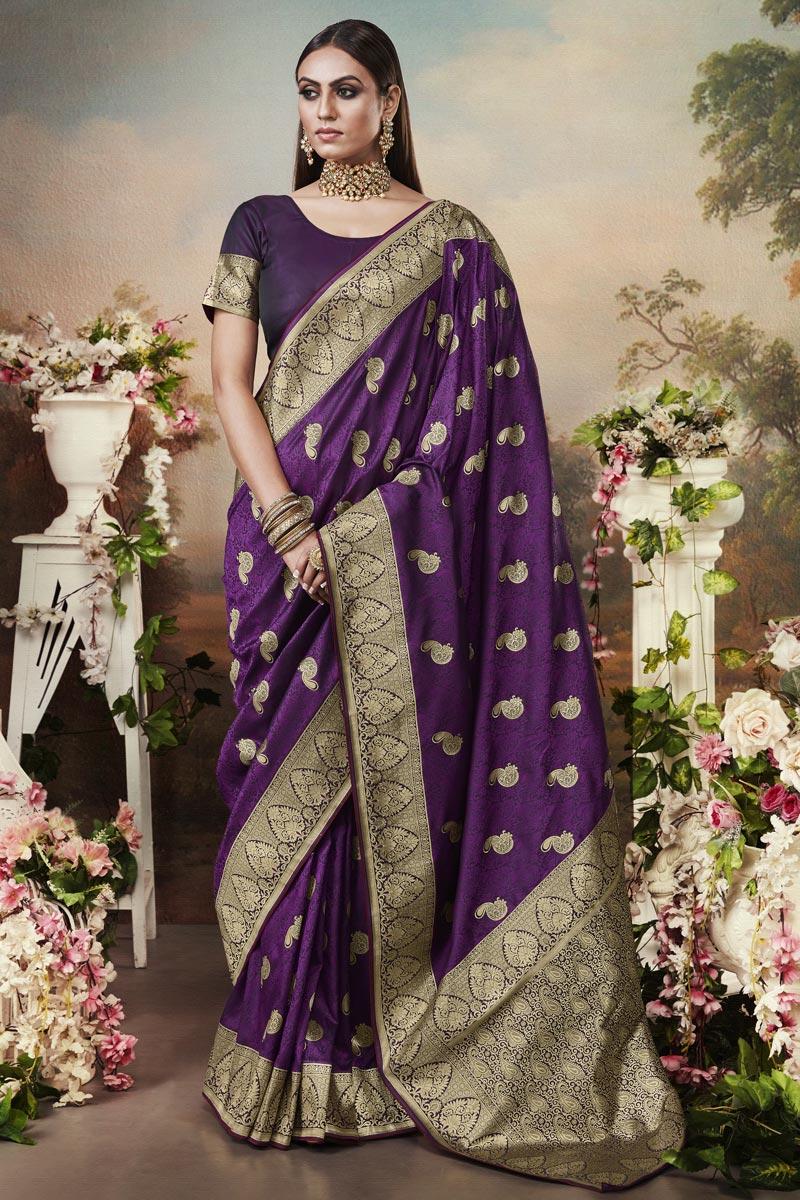 Art Silk Fabric Classic Puja Wear Purple Color Weaving Work Saree