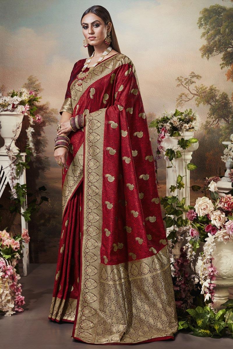 Puja Wear Art Silk Fabric Classic Red Color Weaving Work Saree