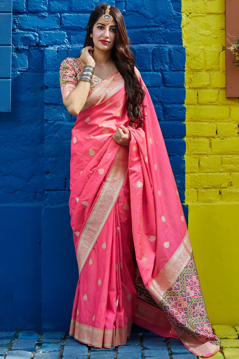 Classic Sangeet Wear Pink Color Weaving Work Saree In Art Silk Fabric