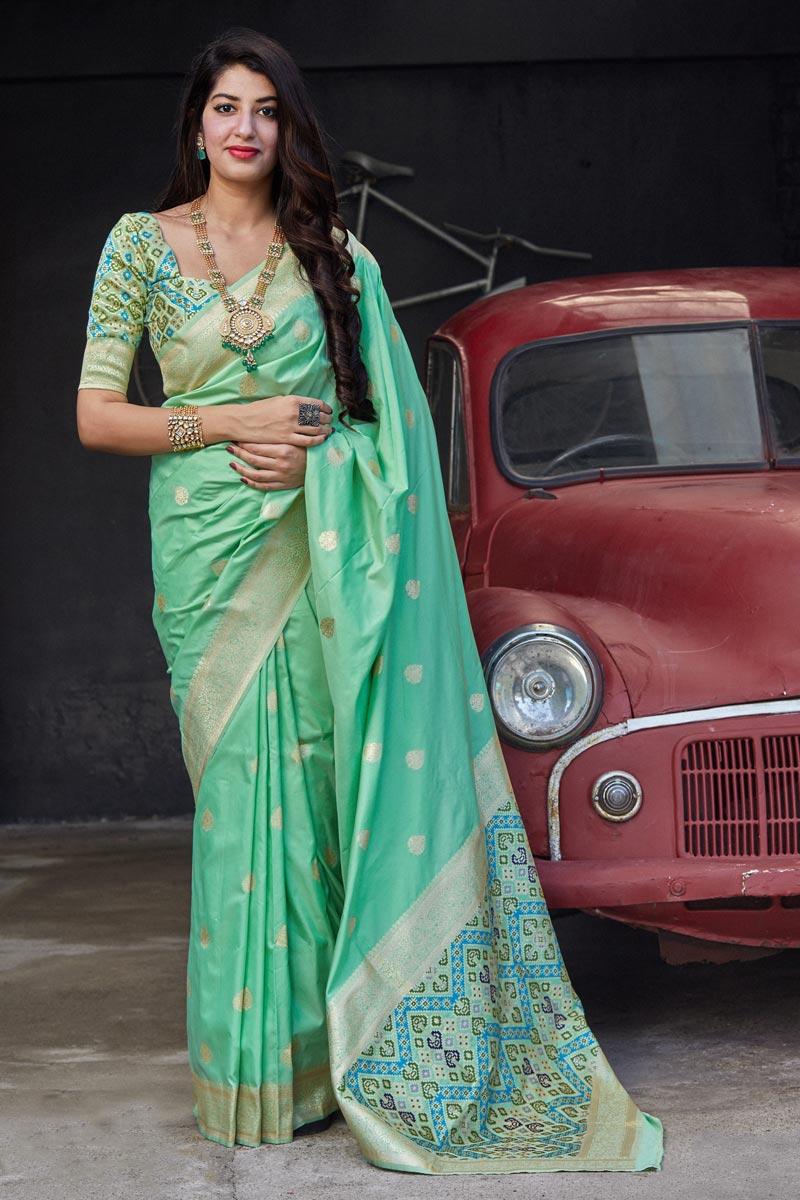 Classic Sangeet Wear Sea Green Color Weaving Work Saree In Art Silk Fabric