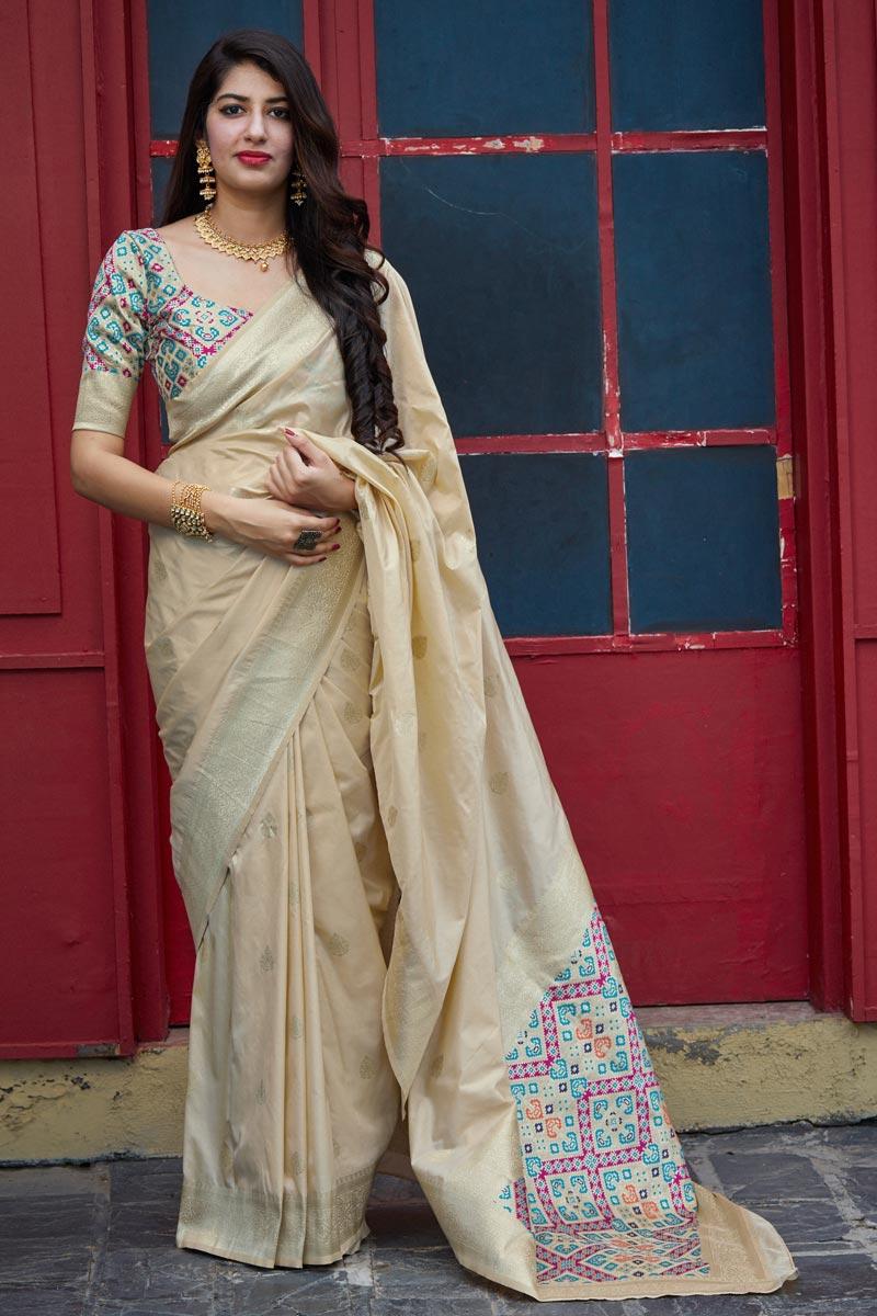 Sangeet Wear Art Silk Fabric Classic Weaving Work Saree In Beige Color