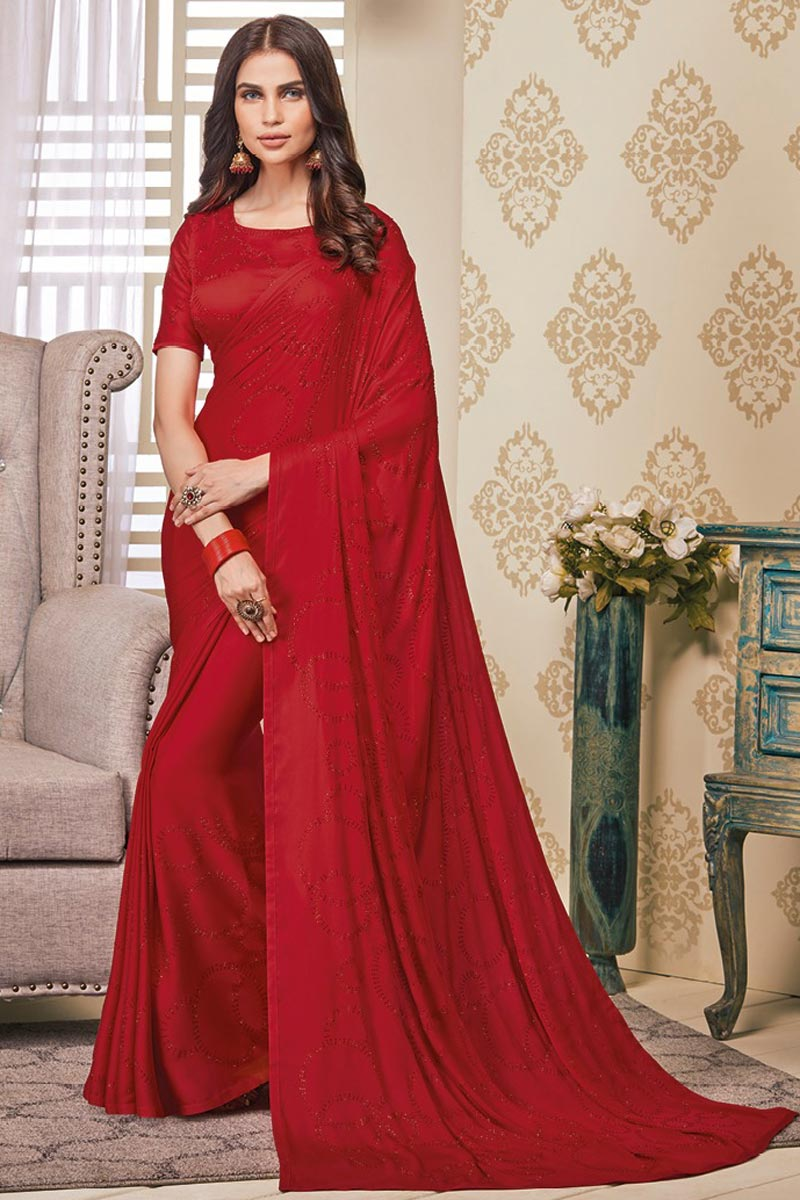 Party Wear Red Color Art Silk Fabric Designer Stone Work Saree