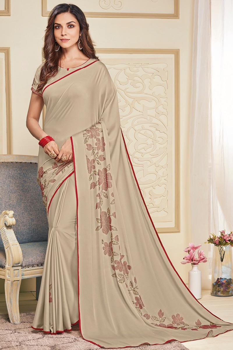Art Silk Fabric Party Wear Designer Cream Color Stone Work Saree