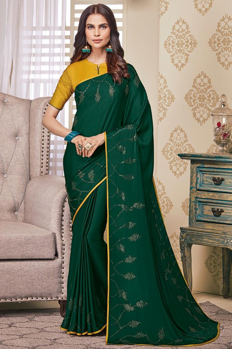 Party Wear Dark Green Color Designer Art Silk Fabric Stone Work Saree