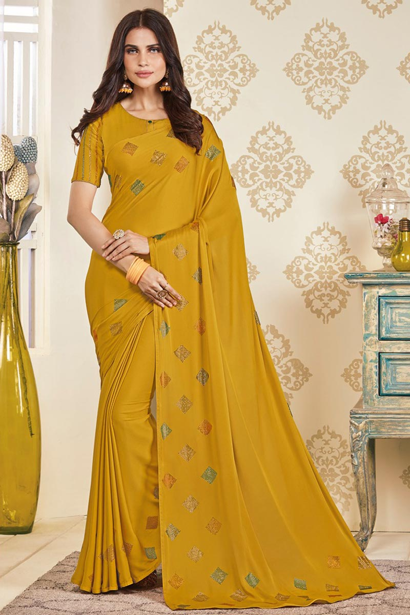 Party Wear Art Silk Fabric Designer Stone Work Saree In Mustard Color