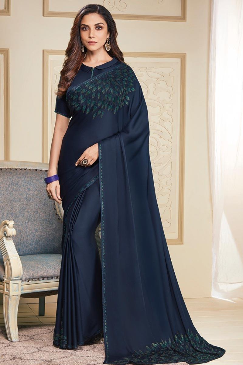 Navy Blue Color Party Wear Designer Stone Work Saree In Art Silk Fabric