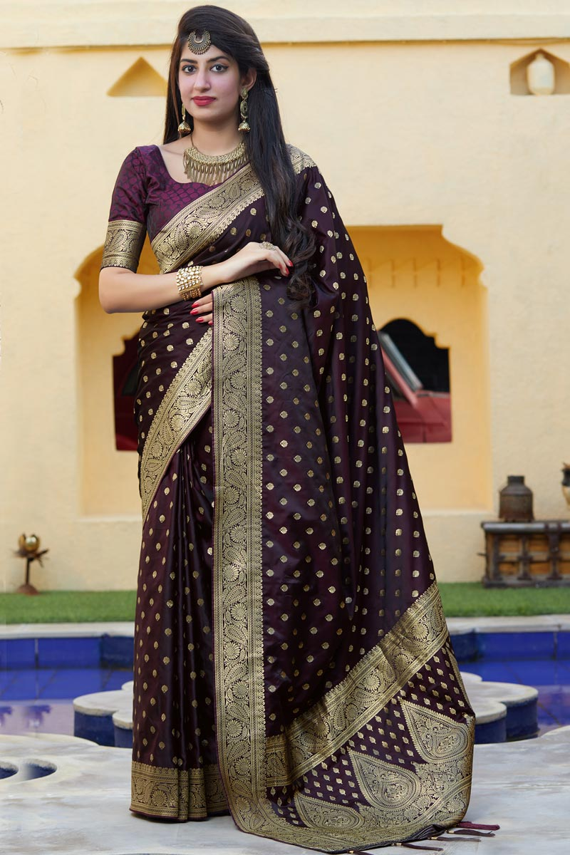Art Silk Fabric Sangeet Wear Wine Color Weaving Work Saree