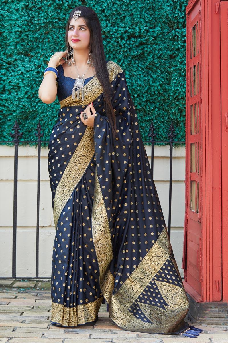 Navy Blue Color Function Wear Art Silk Fabric Weaving Work Saree