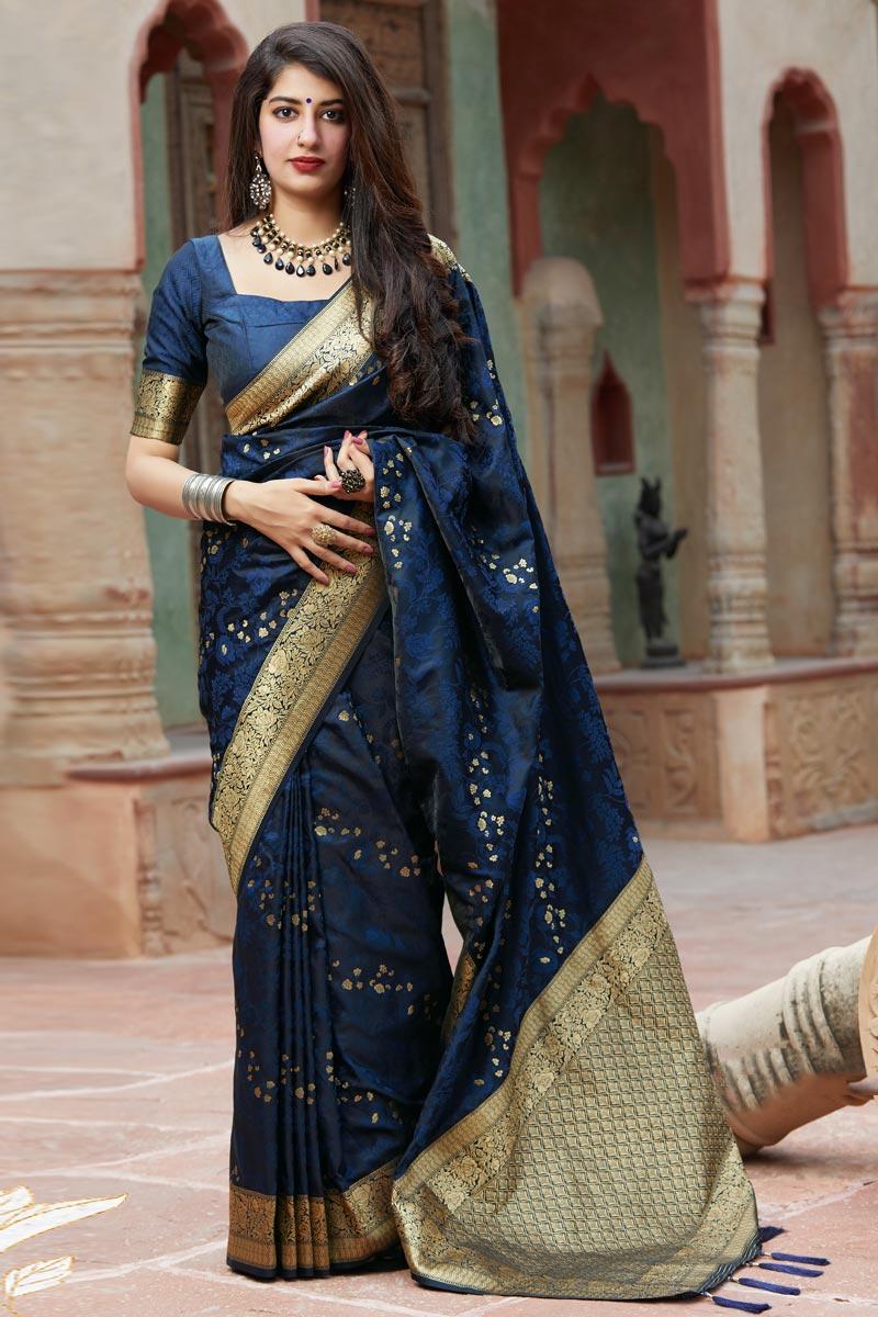 Party Wear Navy Blue Color Art Silk Fabric Weaving Work Saree