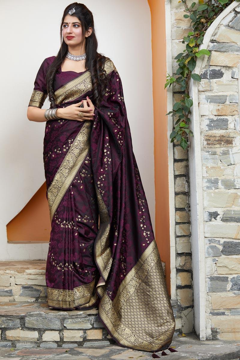 Wine Color Art Silk Fabric Weaving Work Saree