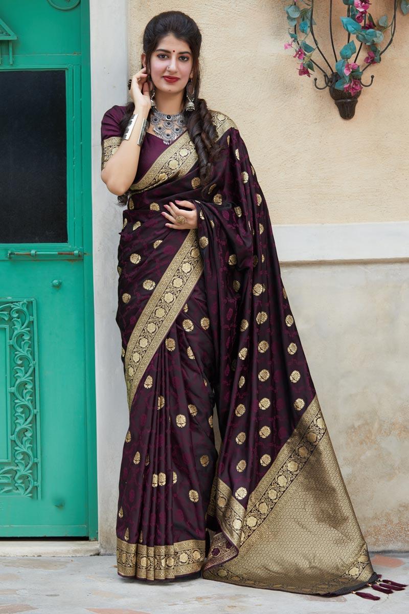 Wine Color Traditional Saree In Art Silk Fabric