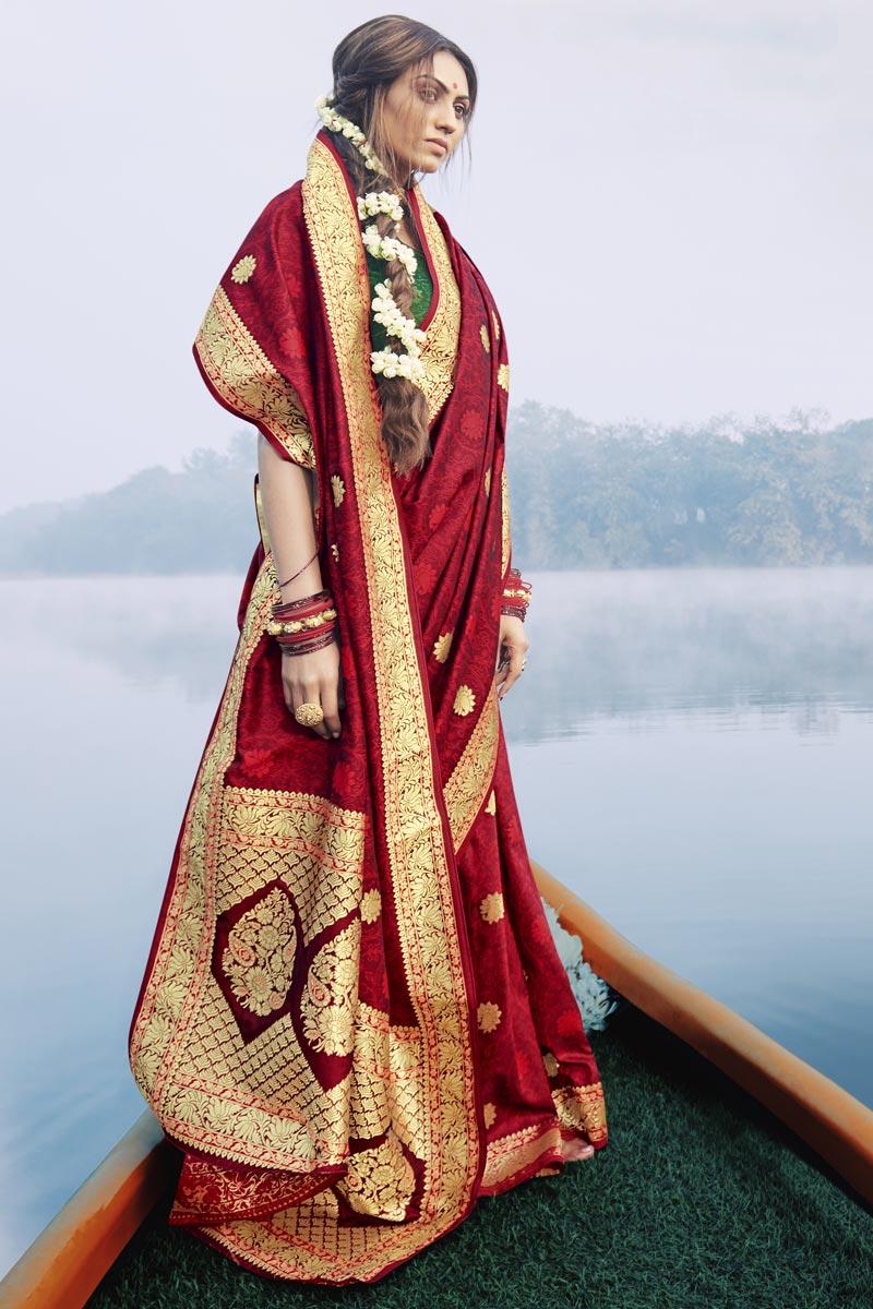 Maroon Color Puja Wear Art Silk Fabric Fancy Weaving Work Saree