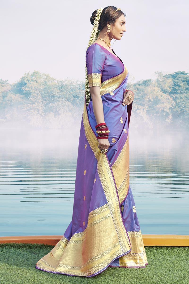 Art Silk Fabric Puja Wear Fancy Lavender Color Weaving Work Saree
