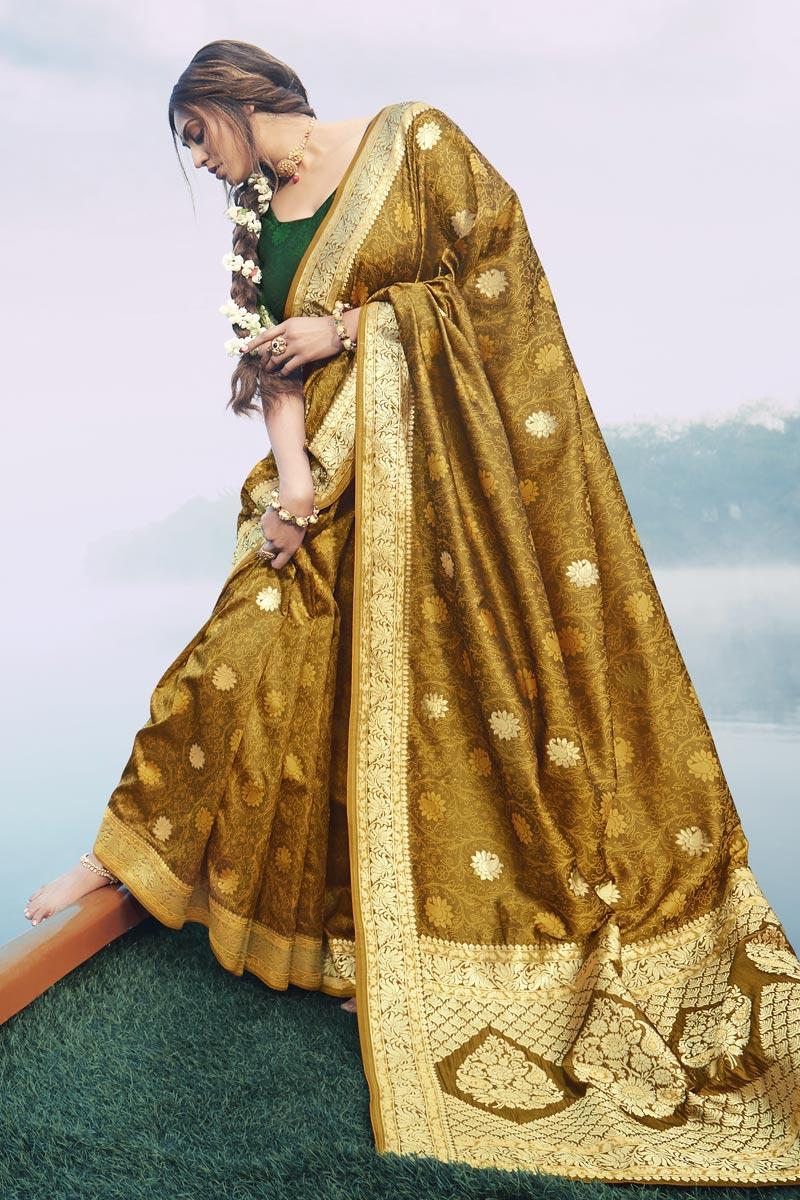 Puja Wear Mehendi Green Color Fancy Art Silk Fabric Weaving Work Saree