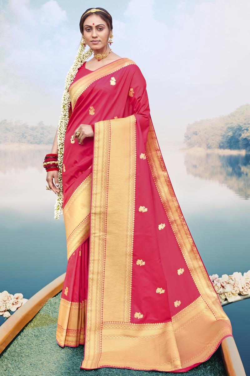Puja Wear Fancy Art Silk Fabric Weaving Work Saree In Pink