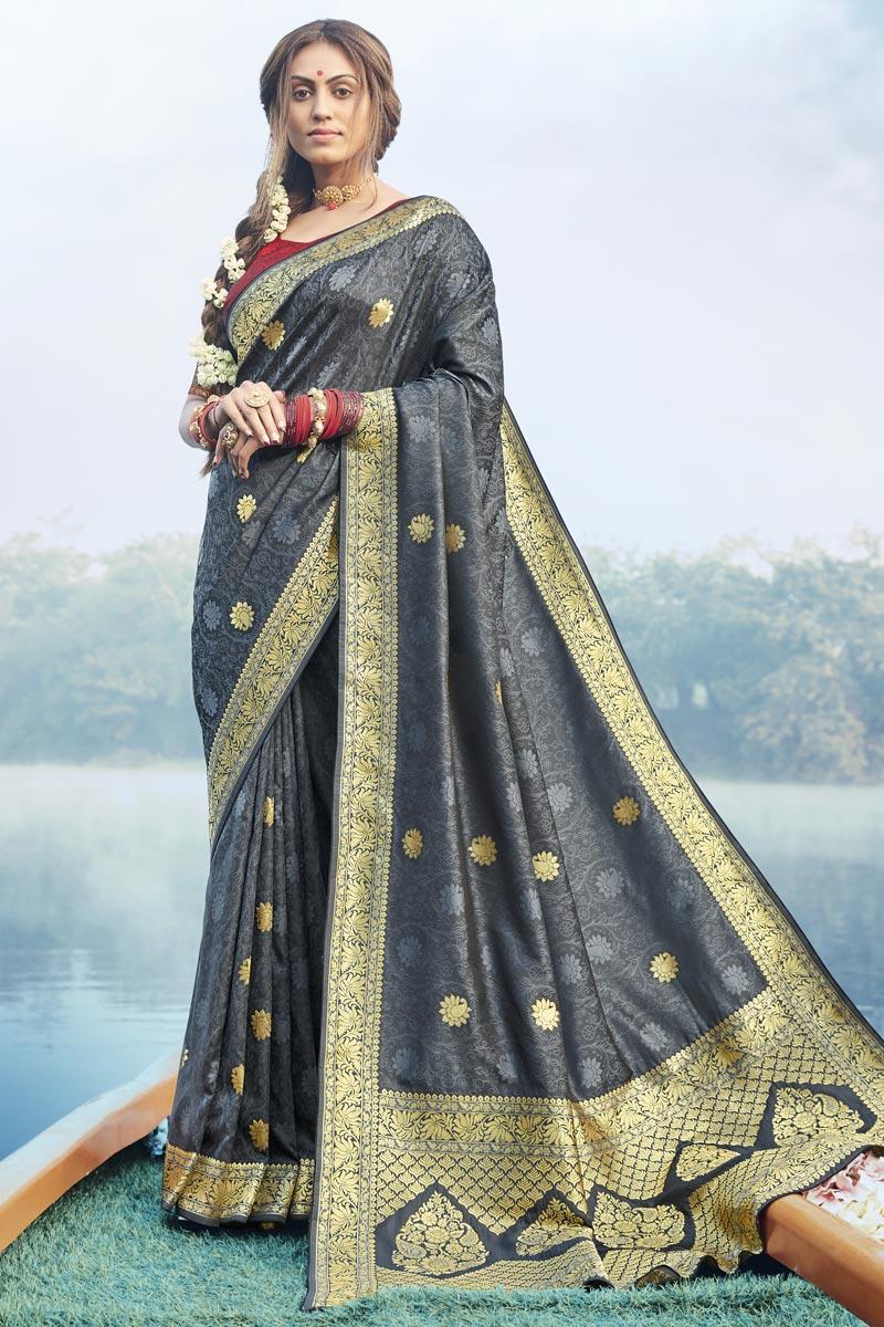 Grey Color Puja Wear Fancy Art Silk Fabric Weaving Work Saree