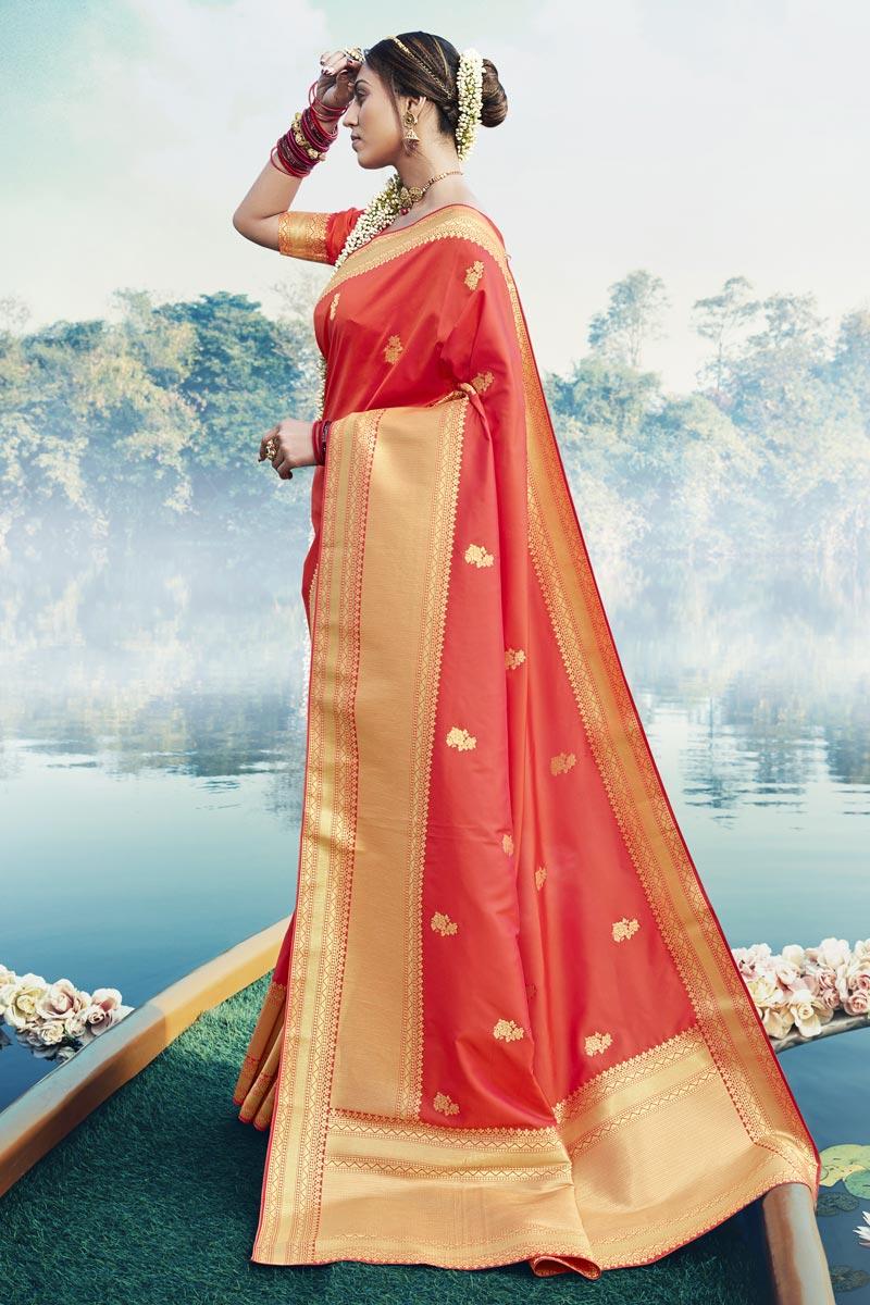 Art Silk Fabric Fancy Puja Wear Orange Color Weaving Work Saree