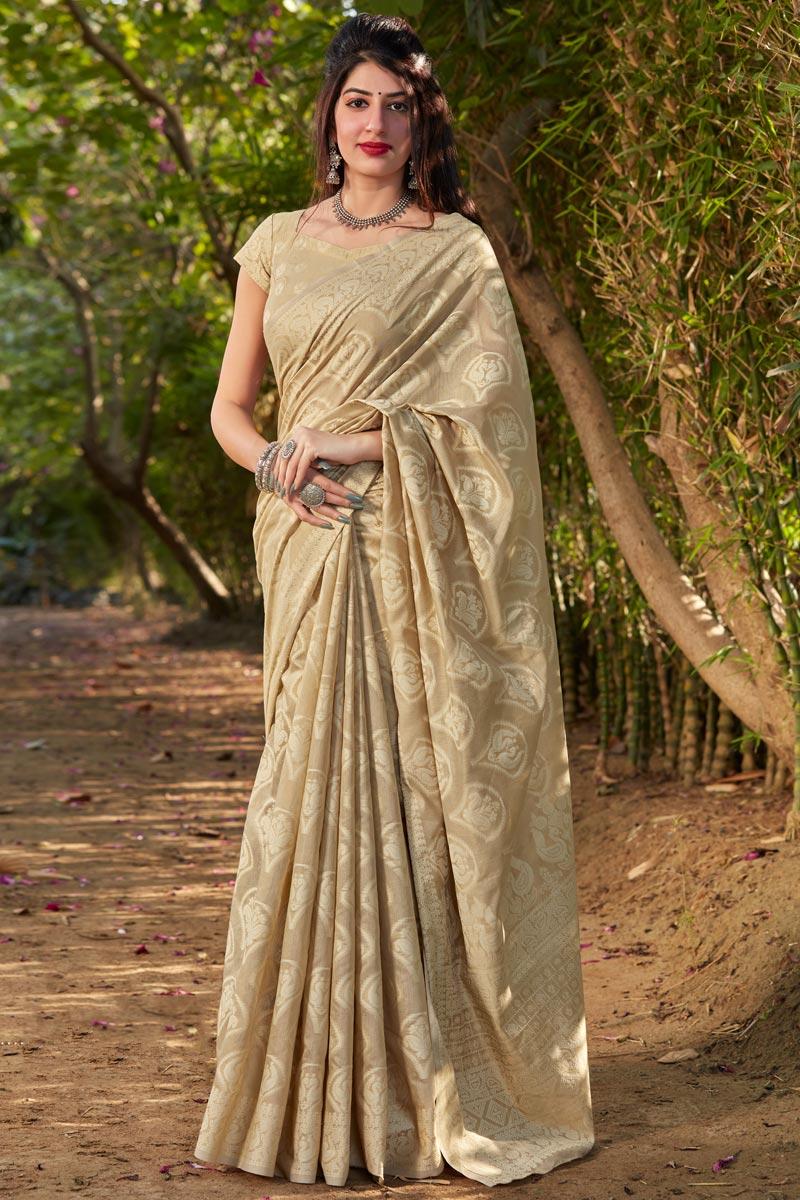 Cotton Silk Fabric Fancy Reception Wear Cream Color Printed Saree