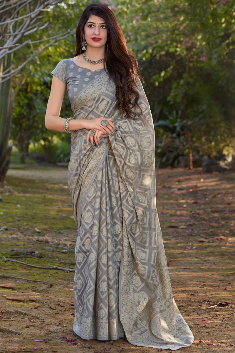 Cotton Silk Fabric Function Wear Fancy Grey Color Printed Saree