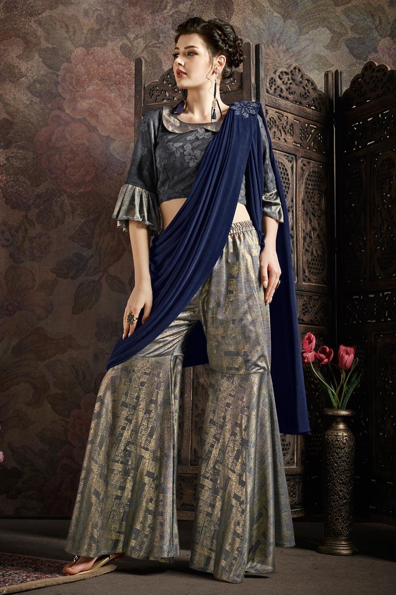 Grey Color Fancy Fabric Festive Wear Indo Western Ready To Wear One Minute Trendy Saree