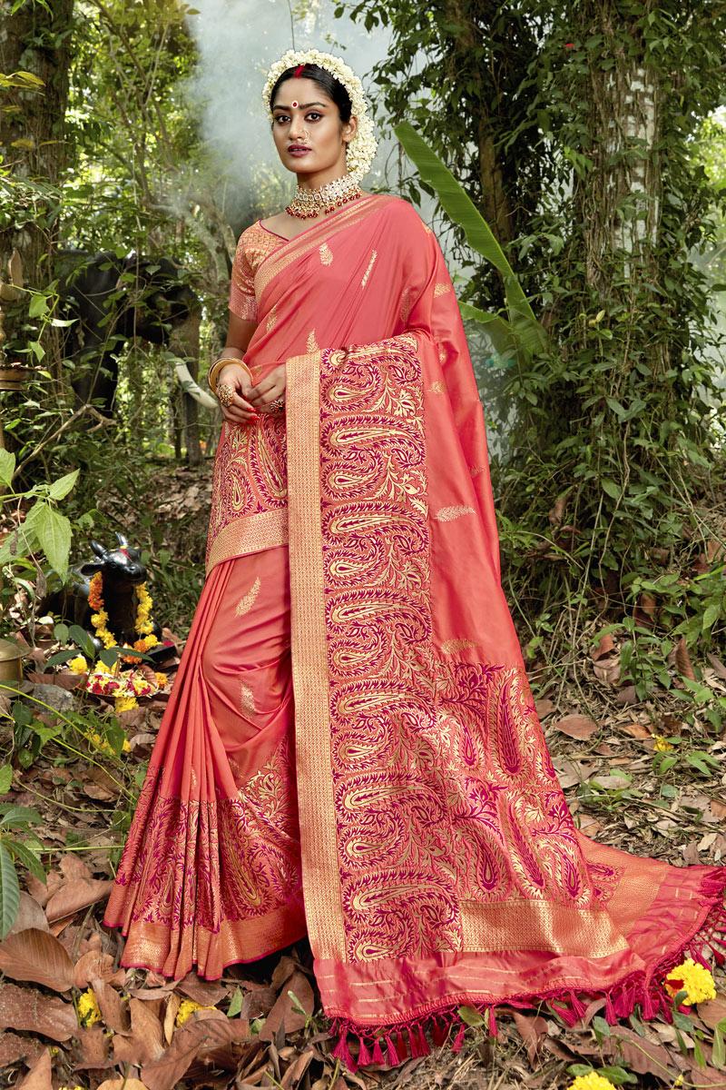 Fancy Weaving Work On Peach Color Banarasi Silk Fabric Sangeet Wear Saree