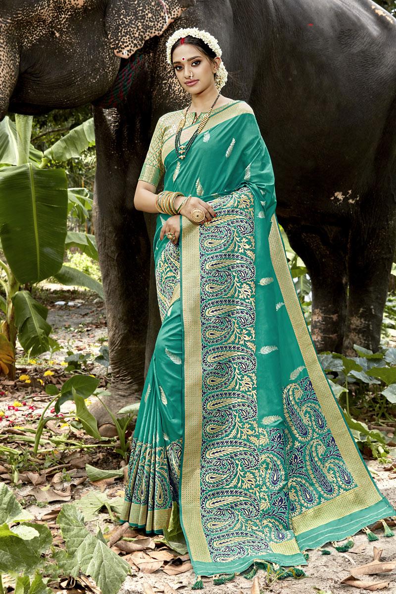 Function Wear Teal Color Weaving Work Saree In Banarasi Silk Fabric
