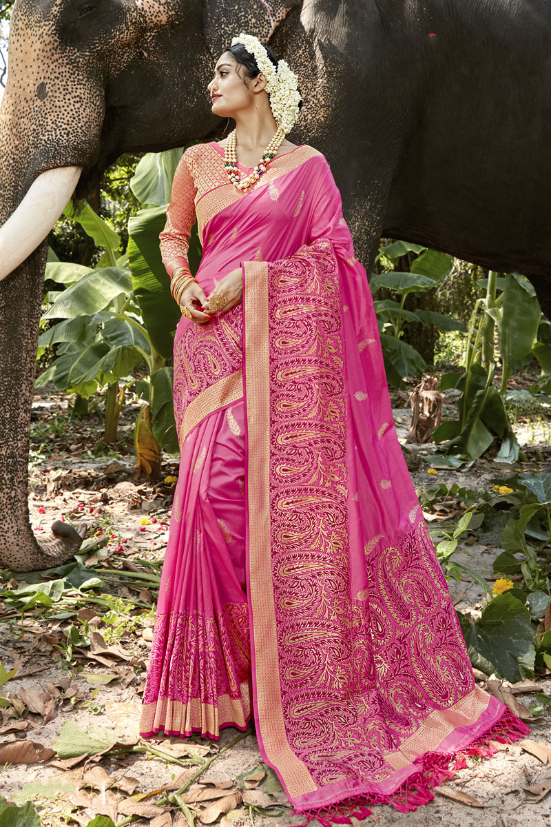 Traditional Banarasi Silk Fabric Saree In Rani Color With Weaving Work For Wedding Function