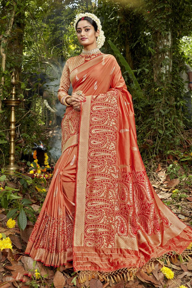 Weaving Work Banarasi Silk Fabric Rust Color Fancy Designer Saree