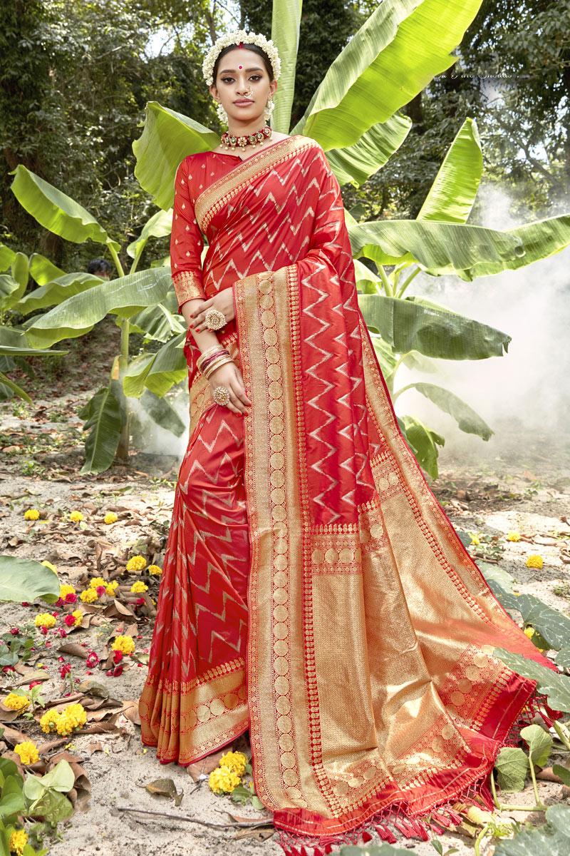 Fancy Weaving Work Banarasi Silk Fabric Red Color Saree