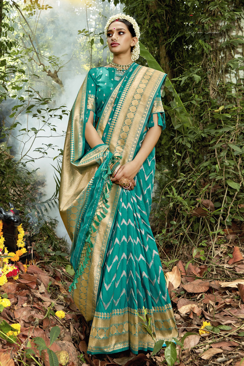 Cyan Color Weaving Work Banarasi Silk Fabric Traditional Saree