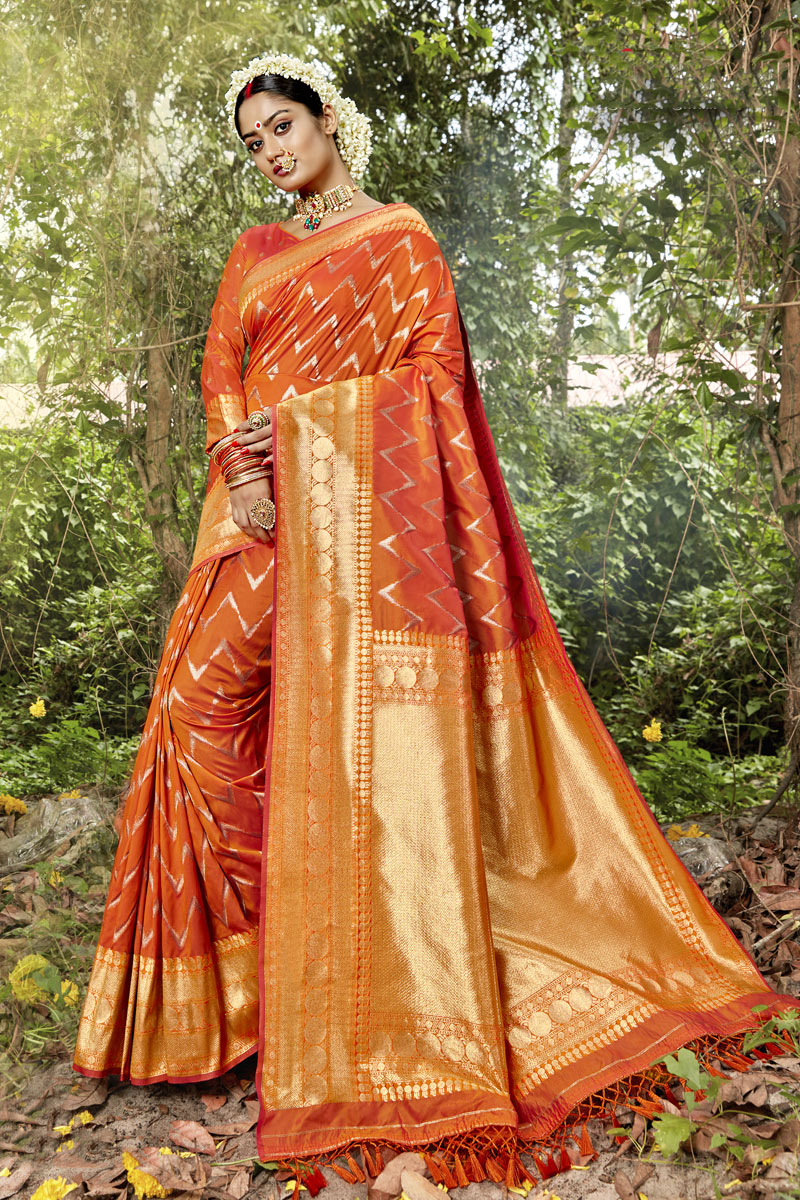 Weaving Work Orange Color Banarasi Silk Fabric Traditional Saree