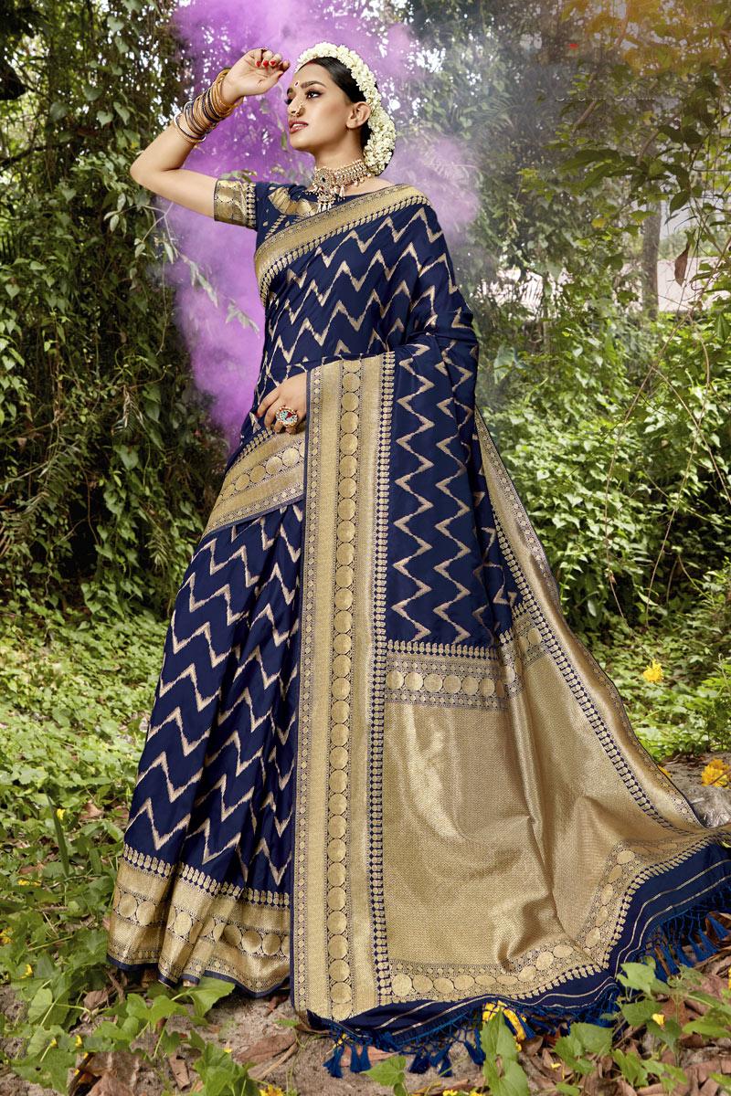Weaving Work Banarasi Silk Fabric Navy Blue Color Designer Saree