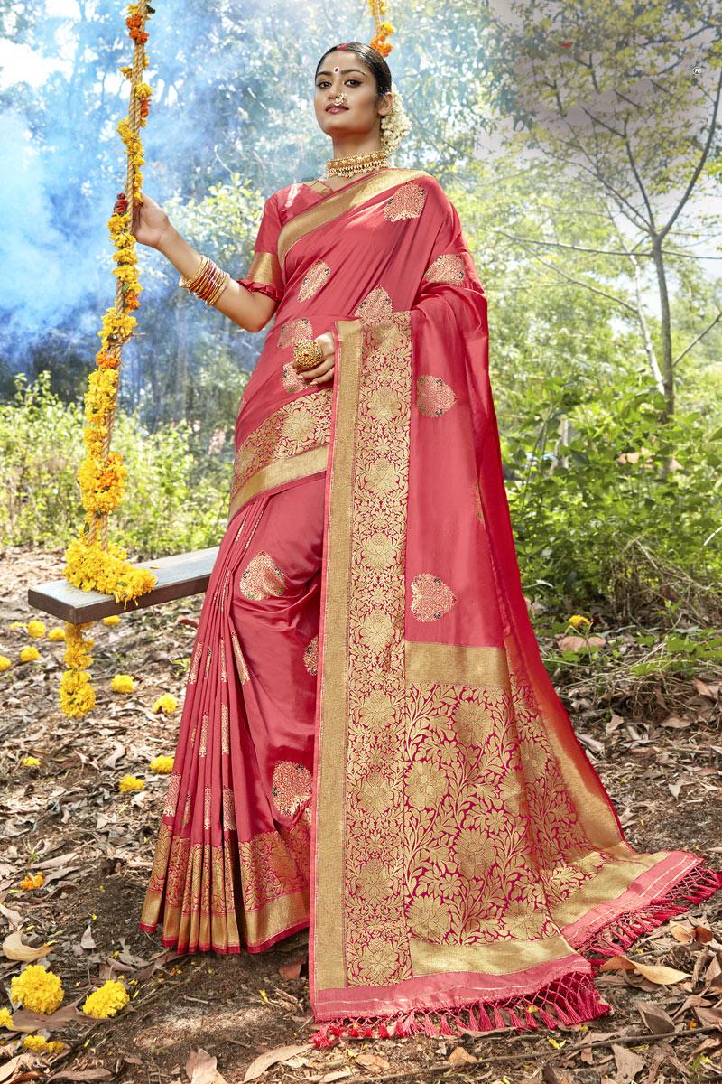 Banarasi Silk Fabric Designer Party Wear Saree In Pink Color With Weaving Work