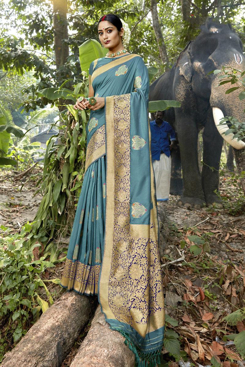 Banarasi Silk Fabric Designer Saree In Light Grey Color With Weaving Work