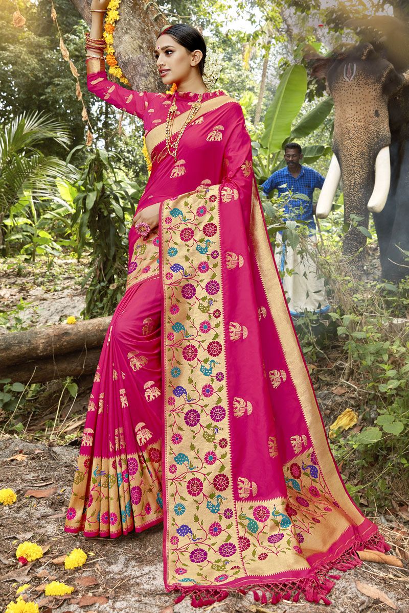 Traditional Banarasi Silk Fabric Saree In Dark Pink Color With Weaving Work For Wedding Function