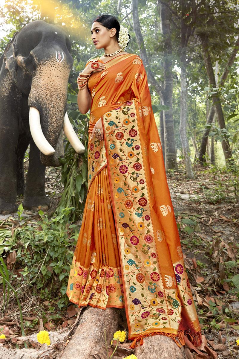 Weaving Work On Orange Color Banarasi Silk Fabric Function Wear Saree