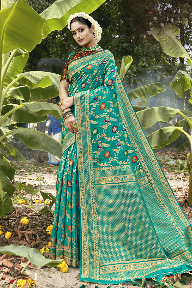 Weaving Work Cyan Color Banarasi Silk Fabric Fancy Saree