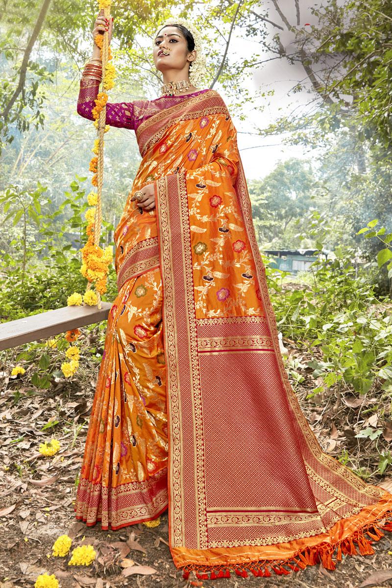 Weaving Work Designer Orange Color Saree