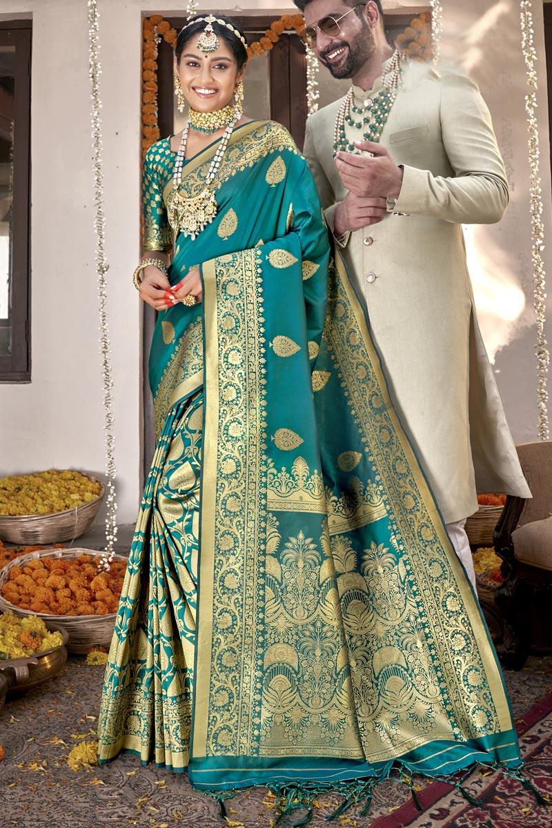 Cyan Sangeet Wear Art Silk Fabric Weaving Work Saree